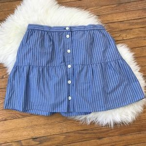 Madewell Bistro Mini Stripe Button Circle Skirt
